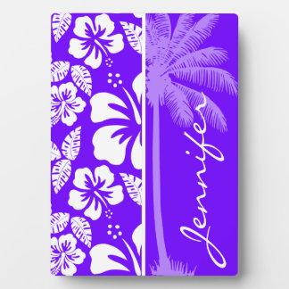 Electric Indigo Tropical Hibiscus; Palm Plaques