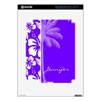 Electric Indigo Tropical Hibiscus Palm iPad 3 Skin