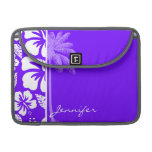 Electric Indigo Tropical Hibiscus; Palm Sleeves For MacBooks