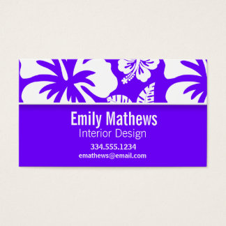 Electric Indigo Tropical Hibiscus; Personalized Business Card