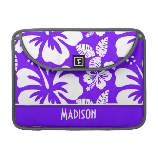 Electric Indigo Tropical Hibiscus; Personalized MacBook Pro Sleeve