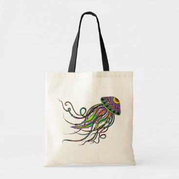 Beach Themed Electric Jellyfish Tote Bag