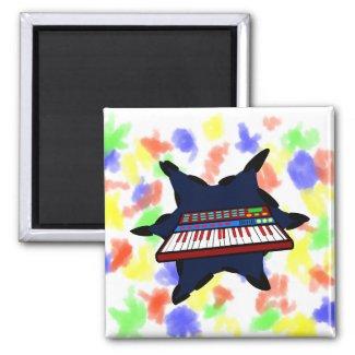 Electric Keyboard Blue Splash Musician Design magnet