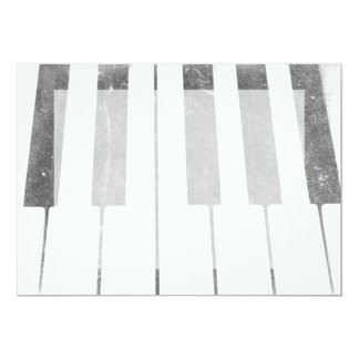 electric keyboard keys grunge scratch music 5x7 paper invitation card