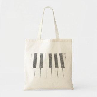 electric keyboard keys grunge scratch music budget tote bag