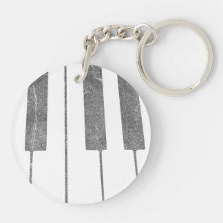 electric keyboard keys grunge scratch music Double-Sided round acrylic keychain