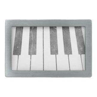 electric keyboard keys grunge scratch music rectangular belt buckles