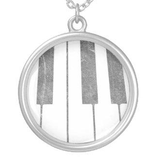 electric keyboard keys grunge scratch music round pendant necklace