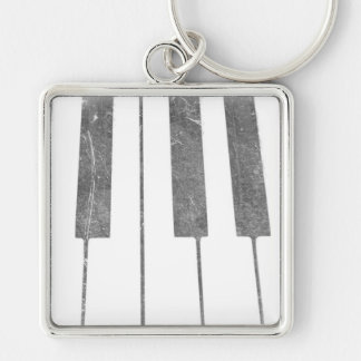 electric keyboard keys grunge scratch music Silver-Colored square keychain