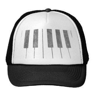 electric keyboard keys grunge scratch music trucker hat