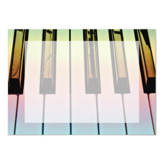 electric keyboard with rainbow overlay 5x7 paper invitation card