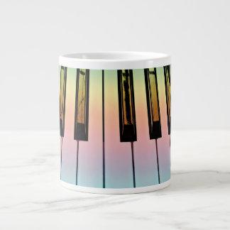 electric keyboard with rainbow overlay giant coffee mug