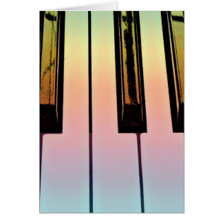 electric keyboard with rainbow overlay greeting card