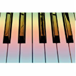 electric keyboard with rainbow overlay photo cutouts