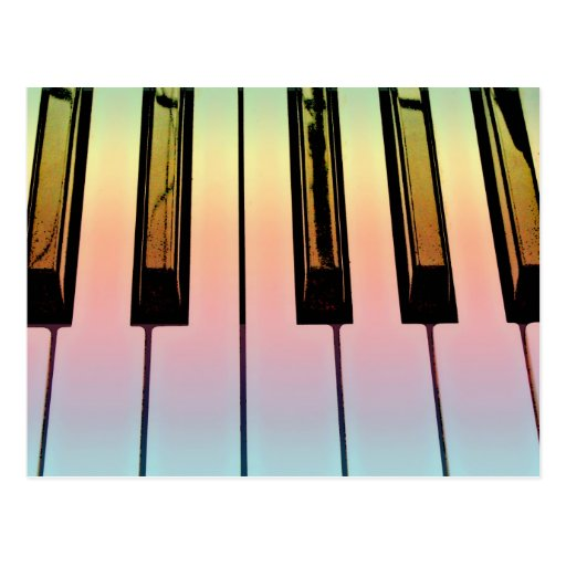 electric keyboard with rainbow overlay postcard