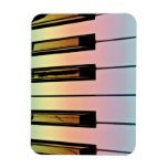 electric keyboard with rainbow overlay rectangle magnets
