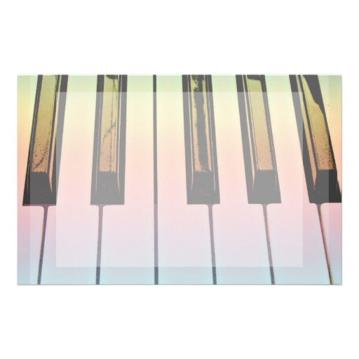 electric keyboard with rainbow overlay stationery