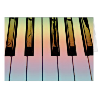 electric keyboard with rainbow overlay stationery note card