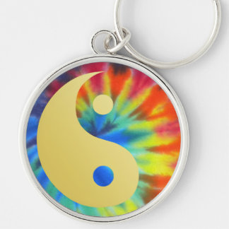 Electric Kool Aid Yin and Yang Silver-Colored Round Keychain