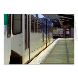 Electric Light Rail Train Close Up Greeting Card