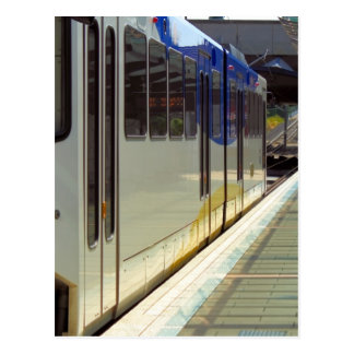 Electric Light Rail Train Close Up Postcard