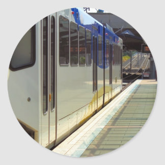 Electric Light Rail Train Close Up Round Stickers