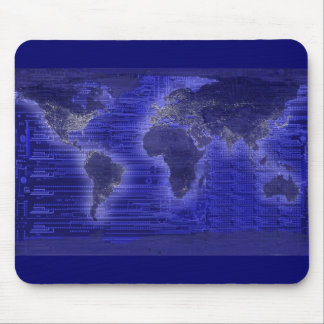 electric light world map mouse pad