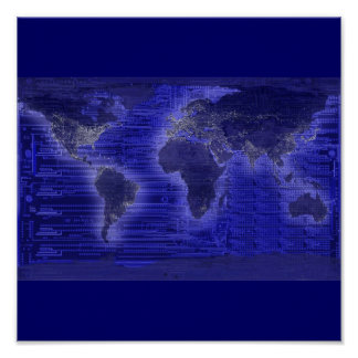 electric light world map poster