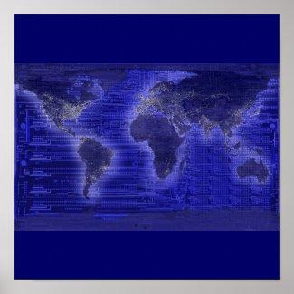 electric light world map print