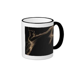 ELECTRIC LIGHTNING BLACK SEPIA RINGER COFFEE MUG