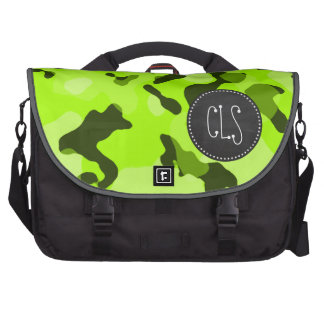 Electric Lime Camo; Camouflage; Chalk look Laptop Bag