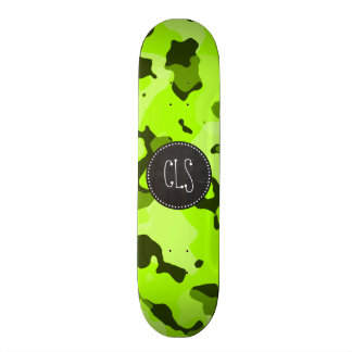 Electric Lime Camo; Camouflage; Chalk look Skateboard