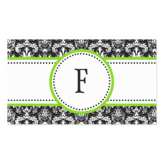 Electric Lime Classic Damask Mommy Calling / Business Card Template