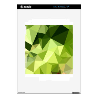 Electric Lime Green Abstract Low Polygon Backgroun iPad 2 Skin