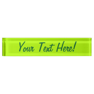 Electric Lime Green Color Decor Ready to Customize Name Plate