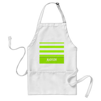 Electric Lime Green Stripes; Personalized Adult Apron