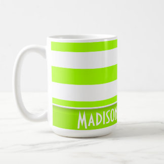 Electric Lime Green Stripes; Personalized Classic White Coffee Mug