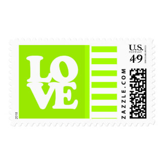 Electric Lime Green Stripes; Personalized Postage
