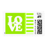 Electric Lime Green Stripes; Personalized Stamps