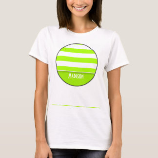 Electric Lime Green Stripes; Personalized T-Shirt