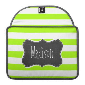 Electric Lime Horizontal Stripes; Chalkboard Sleeve For MacBooks