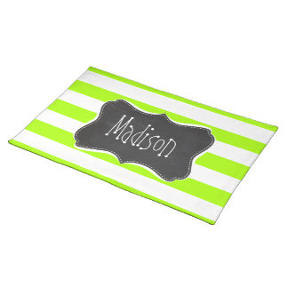 Electric Lime Horizontal Stripes Chalkboard Placemat