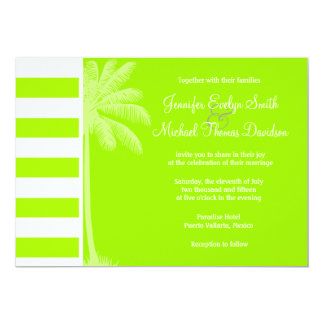 Electric Lime Horizontal Stripes; Palm Personalized Invite