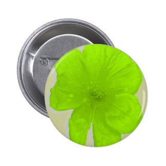 Electric Lime/ PopArt Flower Pinback Button