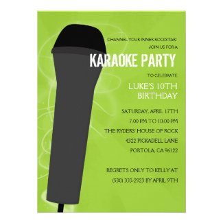 Electric Lime Rock Out Karaoke Birthday Party Announcement