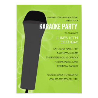 Electric Lime Rock Out Karaoke Birthday Party 5.5x7.5 Paper Invitation Card