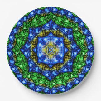 Electric Lotus Mandala Paper Plate