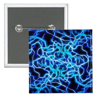 Electric Neon Aqua Blue Teal Lightning Button