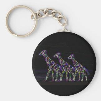 Electric Neon Giraffes Basic Round Button Keychain