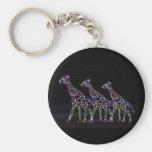 Electric Neon Giraffes Keychain